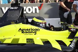 Sébastien Bourdais, Dale Coyne Racing with Vasser-Sullivan Honda nadat hij pole heeft gepakt