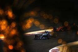 Lewis Hamilton, Mercedes AMG F1 W09, leads Stoffel Vandoorne, McLaren MCL33 Renault