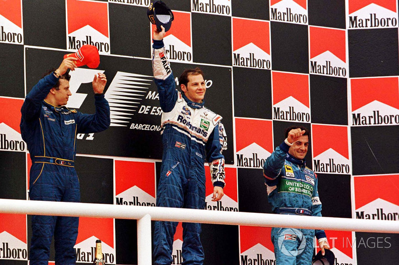 Podium: winner Jacques Villeneuve, Williams, second place Olivier Panis, Prost Grand Prix, Jean Alesi, Benetton