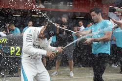 Lewis Hamilton, Mercedes AMG F1, 1st position, Mercedes team mates spray Champagne