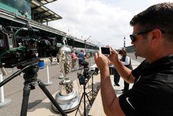 Matt Purkes uses 3 cameras on the Borg-Warner Trophy