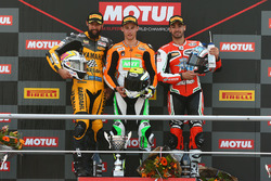 Podium: race winner Jules Cluzel, NRT, second place Randy Krummenacher, BARDAHL Evan Bros, third place Raffaele De Rosa, MV Agusta Reparto Corse by Vamag