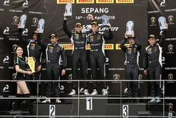 Podium: race winners Andrea Amici, Artur Janosz, FFF Racing Team, second place Armaan Ebrahim, Anind