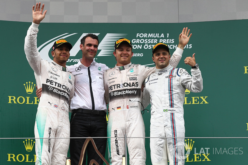 Lewis Hamilton, Mercedes AMG F1, race winner Nico Rosberg, Mercedes AMG F1 and Felipe Massa, Williams celebrate on the podium
