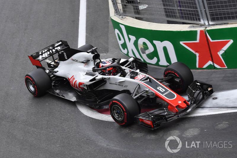 Grosjean na zijn knullige crash achter de Safety Car