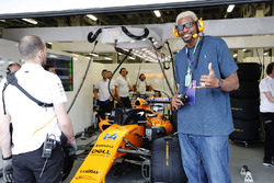 NBA Player Andrew Bynum visits the McLaren garage