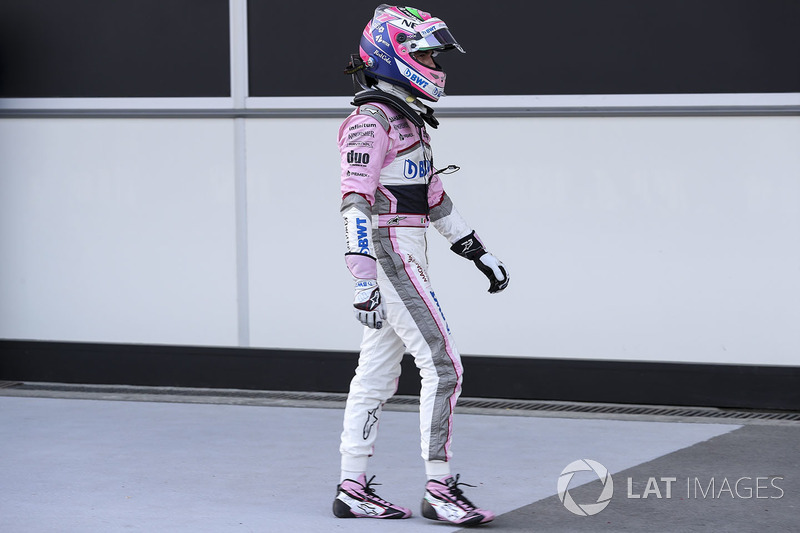 Sergio Perez, Force India VJM11 en parc ferme