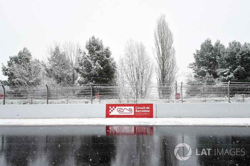 Circuit de Barcelona cubierto de nieve