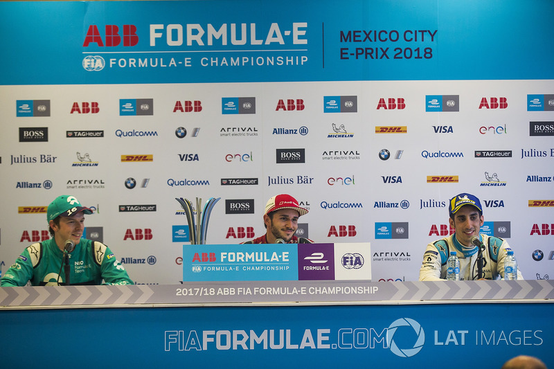 Daniel Abt, Audi Sport ABT Schaeffler, Oliver Turvey, NIO Formula E Team, Sébastien Buemi, Renault e.Dams, talk to the media in the press conference