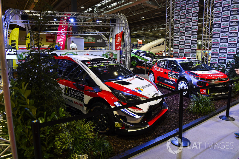 A Toyota and Citroen on the WRC stand