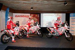Гонщики GasGas Rally Team Джонни Обер, Джонатан Барраган и Кристиан Эспанья