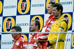 Podium: Race winner Michael Schumacher, Ferrari F2005, second place Rubens Barrichello, Ferrari F200