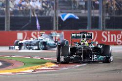 Nico Rosberg, Mercedes W04, leads Lewis Hamilton, Mercedes W04