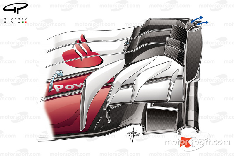 Nouvel aileron avant de la Ferrari SF70H, GP du Mexique