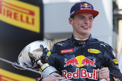 Max Verstappen, Red Bull, 1st Position, celebrates on the podium with his trophy