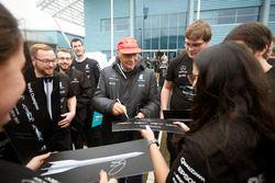 Niki Lauda, Non-Executive Chairman, Mercedes AMG F1 with team members