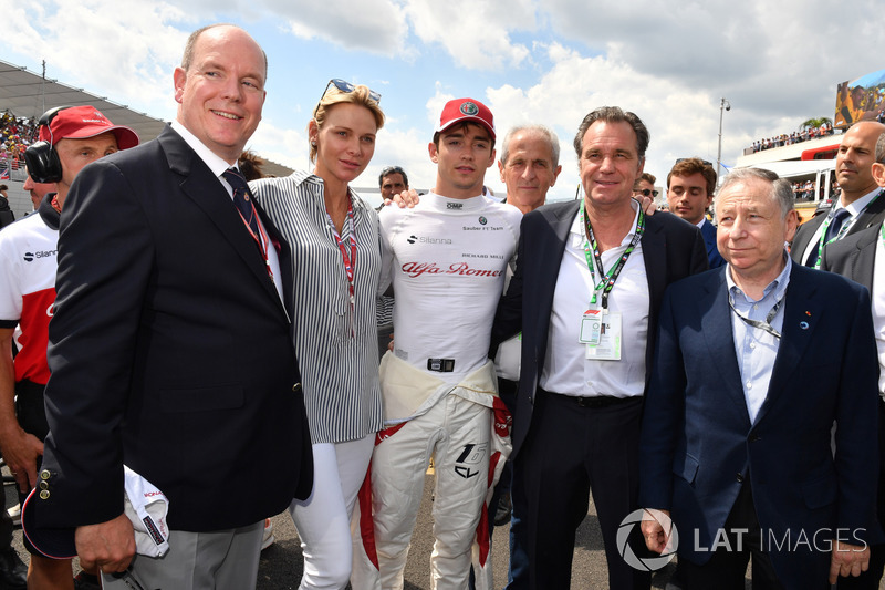 HSH Prince Albert of Monaco (MON), Princess Charlene of Monaco, Charlene Wittstock, Charles Leclerc, Sauber on the grid with Jean Todt, FIA President