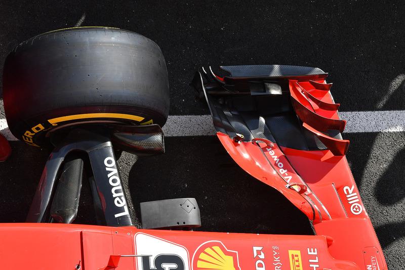 Detalle del alerón delantero del Ferrari SF71H