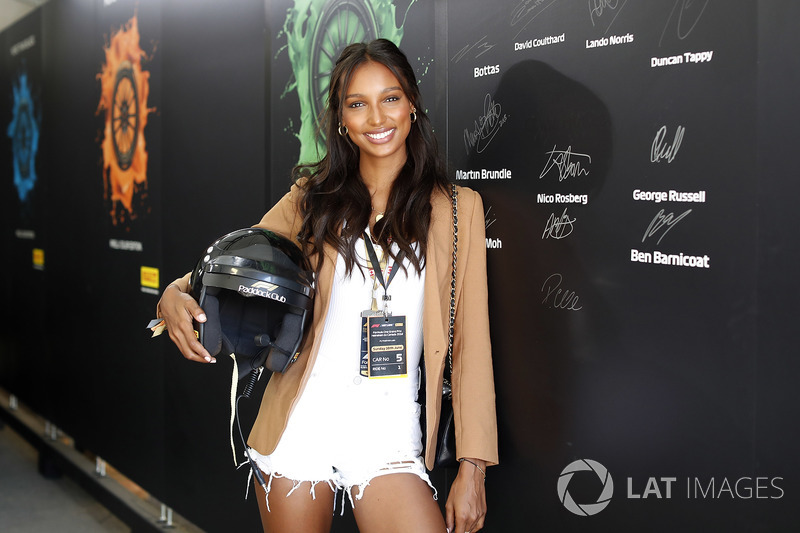 Victoria's Secret model Jasmine Tookes prepares for a Hot Lap