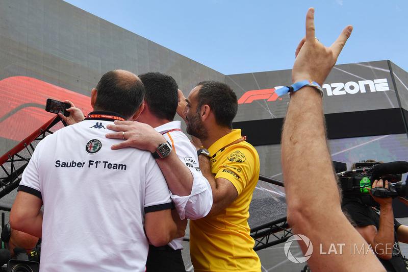 Frederic Vasseur, Sauber, Team Principal, Eric Boullier, McLaren Racing Director, Cyril Abiteboul, Renault Sport F1