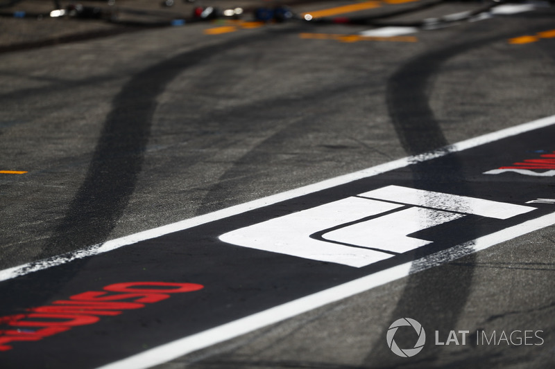 Tyre marks in the pit lane