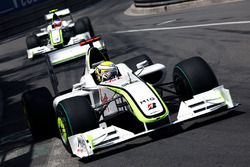 Jenson Button, Brawn Grand Prix BGP 001 leads Rubens Barrichello, Brawn Grand Prix BGP 001
