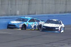 Kevin Harvick, Stewart-Haas Racing Ford, crashes after contact with Kyle Larson, Chip Ganassi Racing