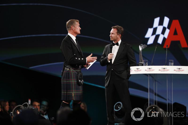 David Coulthard talks to Christian Horner, Team Principal, Red Bull Racing