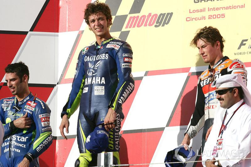 Podio: 1º Valentino Rossi, 2º Marco Melandri, 3º Nicky Hayden