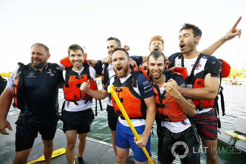 The Williams team celebrate winning the Raft Race