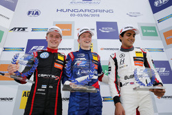 Rookie Podium: Winner Robert Shwartzman, PREMA Theodore Racing Dallara F317 - Mercedes-Benz, second Jüri Vips, Motopark Dallara F317 - Volkswagen, third place Enaam Ahmed, Hitech Bullfrog GP Dallara F317 - Mercedes-Benz