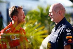 Sebastian Vettel, Ferrari, with Adrian Newey, Chief Technical Officer, Red Bull Racing