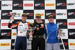 Podium: second place Nicolai Kjaergaard, Carlin BRDC British F3, Race winner Linus Lundqvist, Double R BRDC British F3, third place Billy Monger, Carlin
