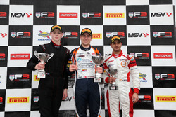 Podium: second place Tristan Charpentier, Fortec Motorsports, Race winner Nicolai Kjaergaard, Carlin, third place Kush Maini, Lanan Racing