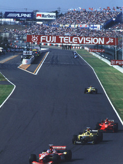 Jacques Villeneuve, Williams leads Damon Hill, Jordan