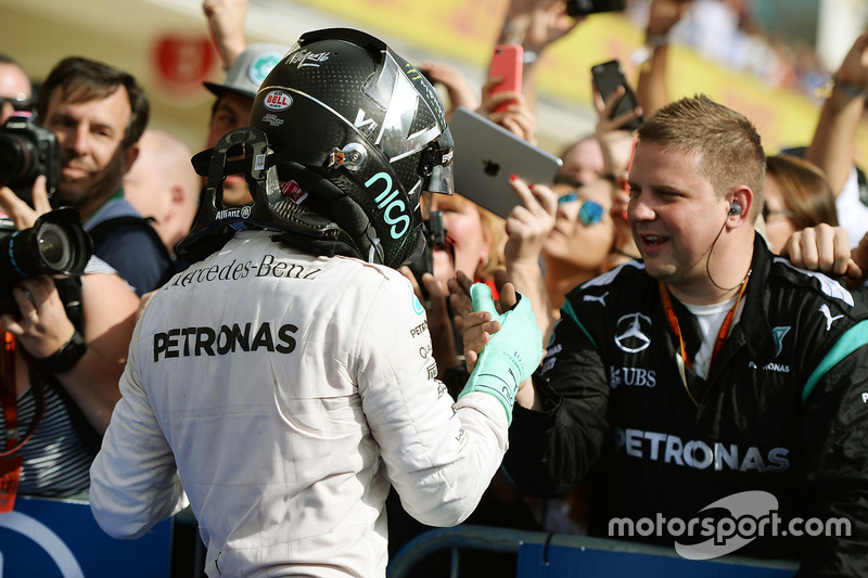Nico Rosberg, Mercedes AMG F1 celebrates his second position with the team in parc ferme