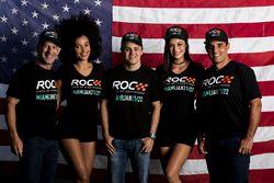 Tony Kanaan, Felipe Massa, Juan Pablo Montoya met de ROC girls