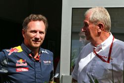 (L to R): Christian Horner, Red Bull Racing Team Principal with Dr Helmut Marko, Red Bull Motorsport