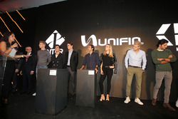 (L to R): Nico Hulkenberg, Sahara Force India F1; Sergio Perez, Sahara Force India F1; Esteban Gutie