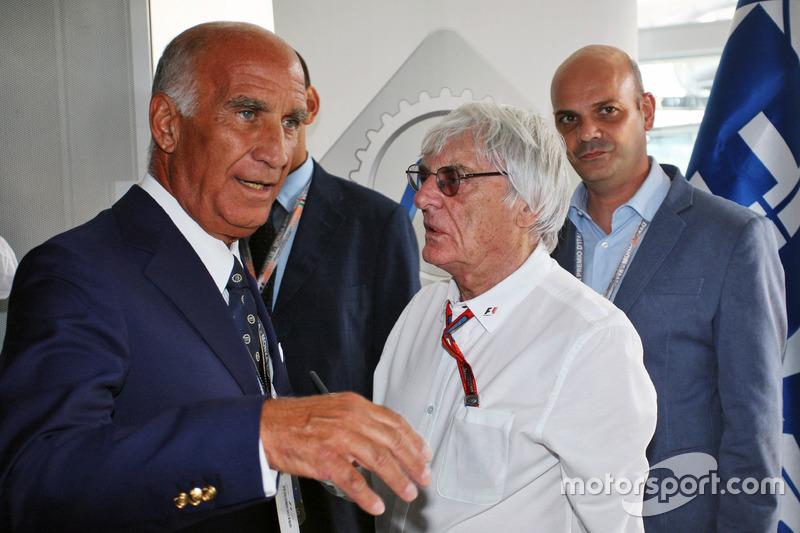 (Da sx a dx): Dr. Angelo Sticchi Damiani, Presidente ACI CSAI con Bernie Ecclestone all'annuncio al circuito di Monza