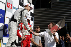 Prize giving ceremony, George Russell, HitechGP, Dallara F312 - Mercedes-Benz getting the trophy of Allan McNish,3 times winner of 24 Heures du Mans