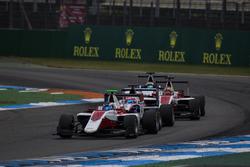 Nyck De Vries, ART Grand Prix leads Antonio Fuoco, Trident, Charles Leclerc, ART Grand Prix and Matthew Parry, Koiranen GP under the Virtual Safety Car