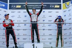 Podium: race winner Hugo De Sadeleer, Tech 1 Racing, second place Dorian Boccolacci, Tech 1 Racing, third place Lando Norris, Josef Kaufmann Racing