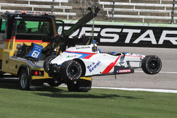 The crashed car of Gabby Chaves, Dale Coyne Racing Honda