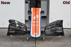 L'ancien et le nouvel aileron avant de la Manor Racing MRT05