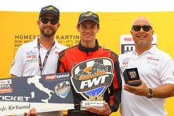 Kyle Kirkwood with the spoils in Senior Rotax championship