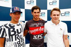 Top three in qualifying: Pierre Gasly PREMA Racing, polesitter Antonio Giovinazzi PREMA Racing, Gust