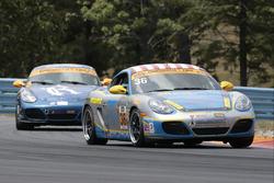 #36 Strategic Wealth Racing Porsche Cayman: Matthew Dicken, Corey Lewis, #8 Rebel Rock Racing Porsche Cayman: Robin Liddell, Theo Bean