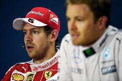 Press conference: winner Nico Rosberg, Mercedes AMG F1 Team and second place Sebastian Vettel, Ferra