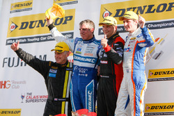 Podium: Race winner Mat Jackson, Motorbase Performance; Mark Howard, BKR; Jason Plato, Subaru Team B